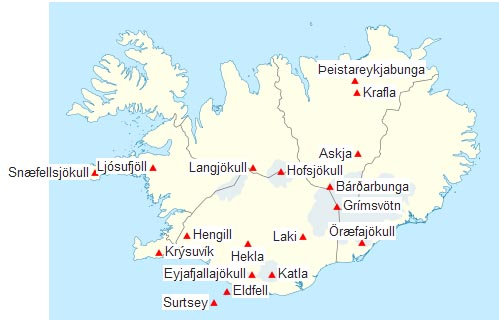 Fig. 1. Volcanoes in Iceland location